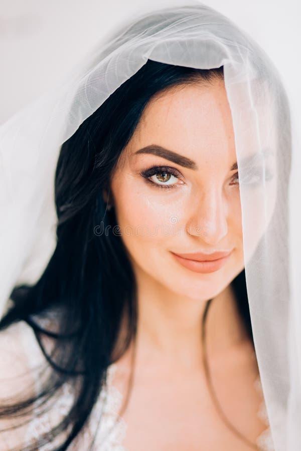 Boudoir portrait of beautiful bride. Bride wedding morning royalty free stock photos