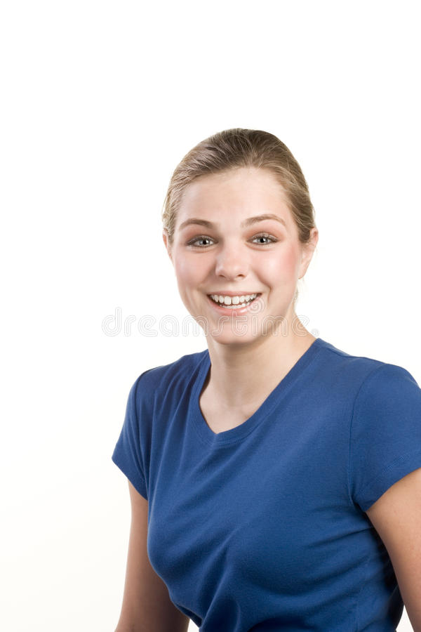 Headshot portrait of teenage girl in blue blouse royalty free stock photography