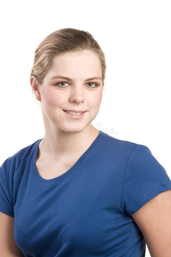 Headshot portrait of teenage girl in blue blouse stock photos
