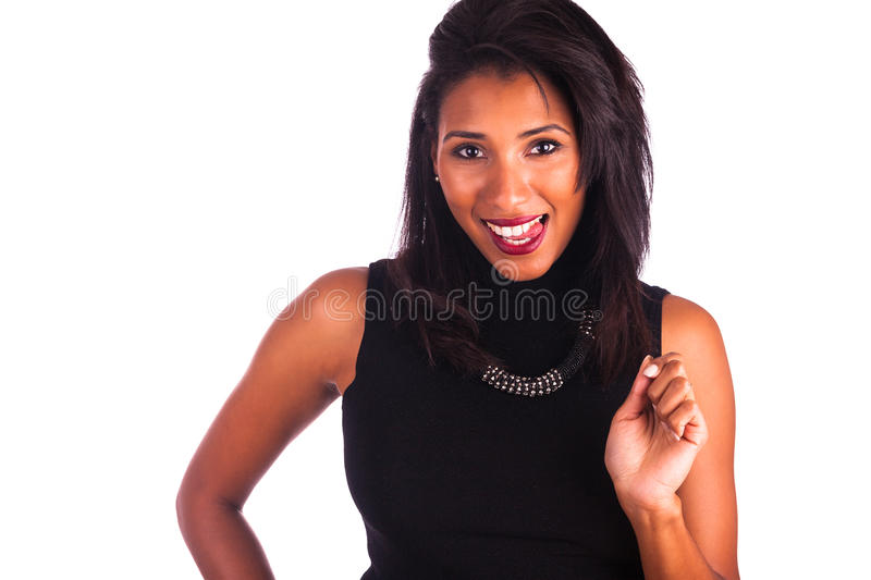 Headshot portrait of a young african american woman making tongue out,isolated on white background royalty free stock photo