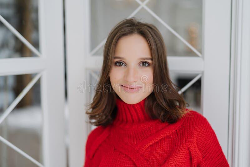 Headshot powabna kobieta z ciemnym włosy, jest ubranym trykotowego pulower, patrzeje bezpośrednio przy kamerą, życzliwego uśmiech obraz royalty free