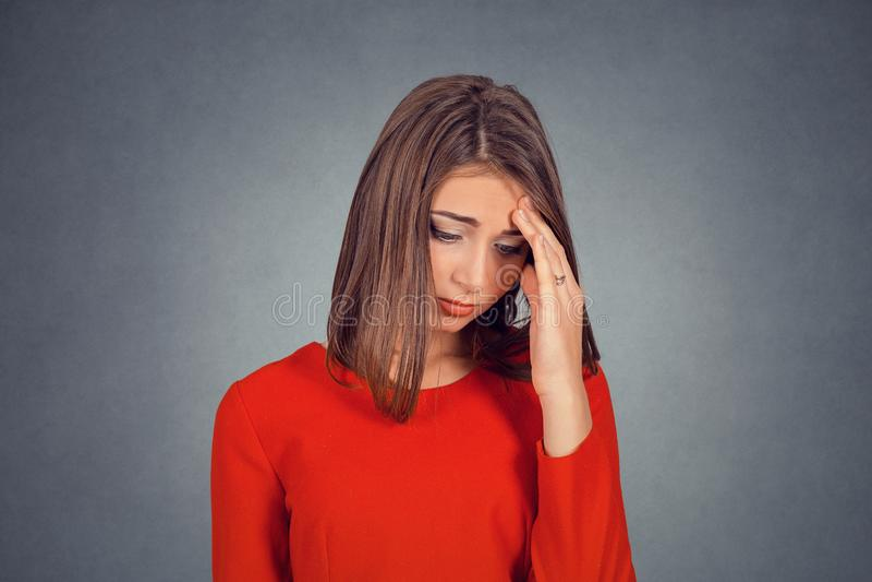 Headshot of sad young woman royalty free stock photos