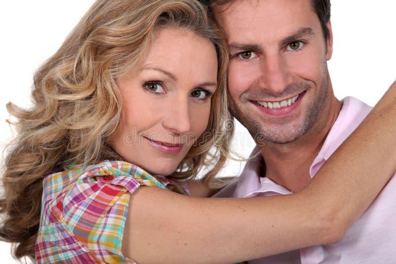 Headshot of smiling couple stock photo