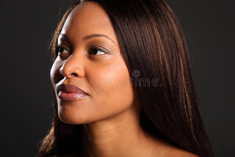 Headshot of stunning beautiful black woman stock images