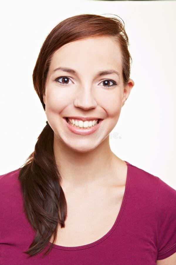 Headshot szczęśliwa kobieta zdjęcie royalty free
