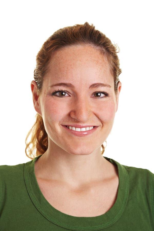 Headshot van jonge glimlachende vrouw royalty-vrije stock foto