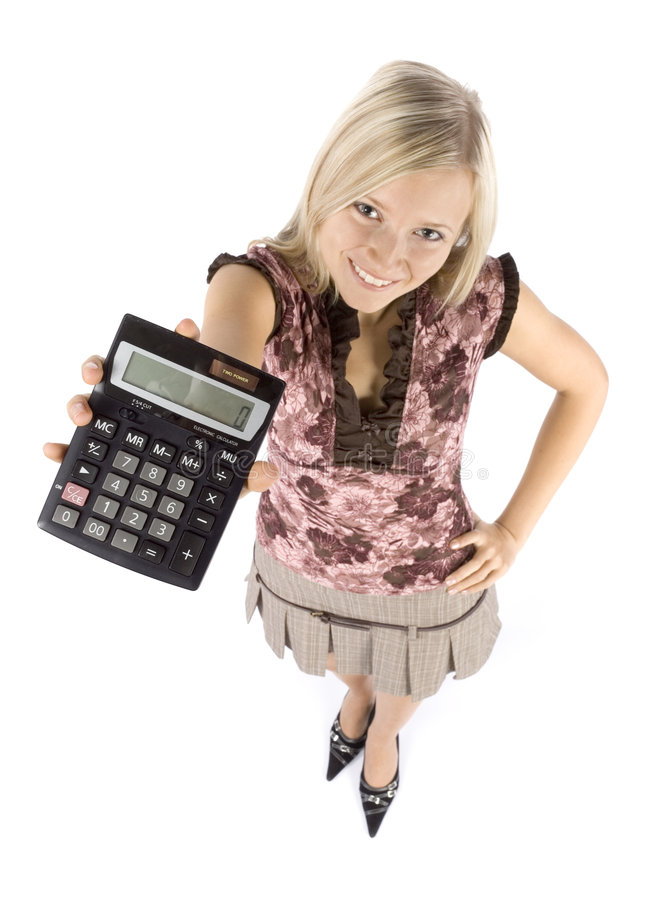 Headshot of young blonde woman with calculator royalty free stock images