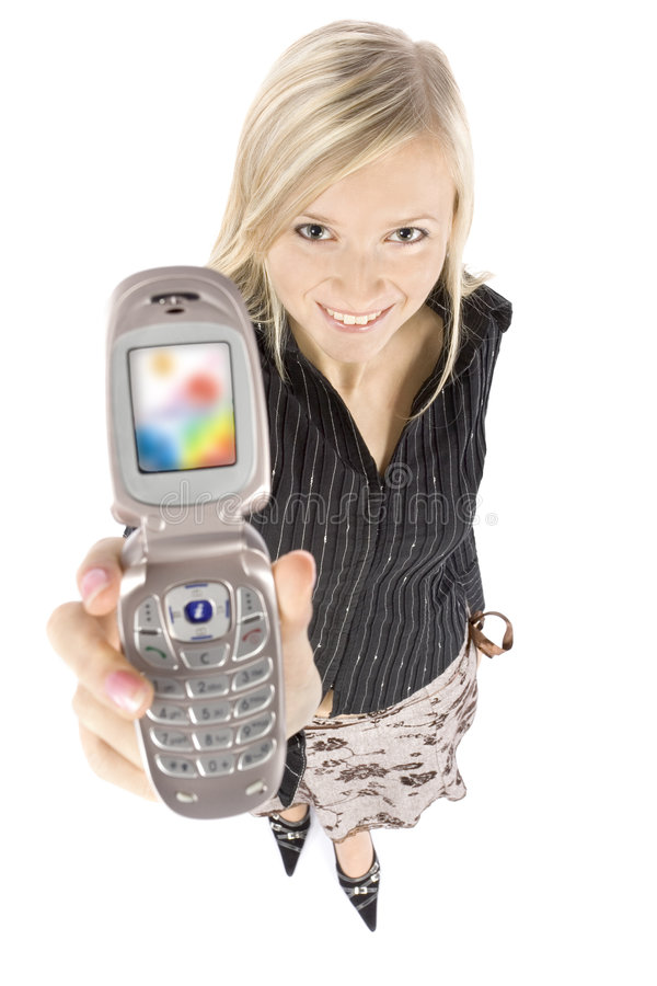 Headshot of young blonde woman with mobile phone royalty free stock images