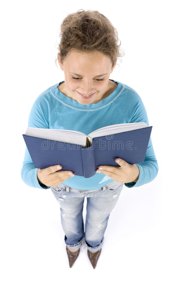 Headshot of young woman with book royalty free stock images