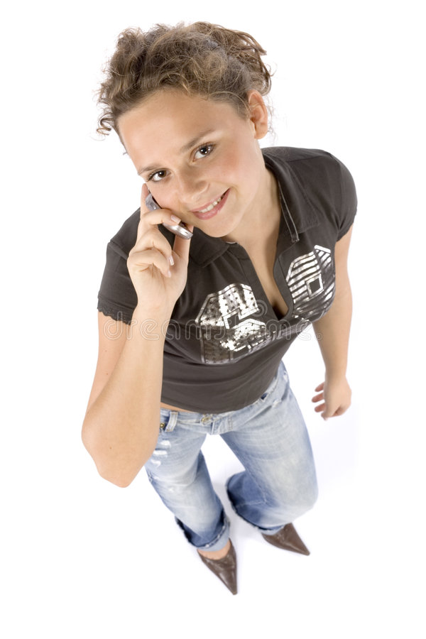 Headshot of young woman with mobile phone royalty free stock photography