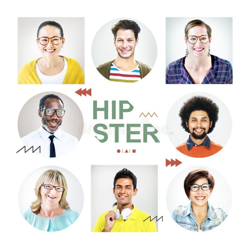 Headshots των ανθρώπων που χαρακτηρίζονται ως Hipster στοκ εικόνα με δικαίωμα ελεύθερης χρήσης