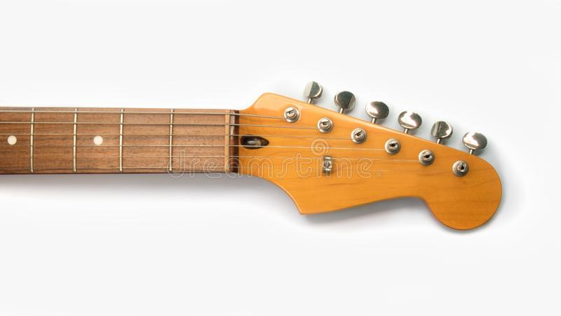 Headstock of the guitar without a logo stock images