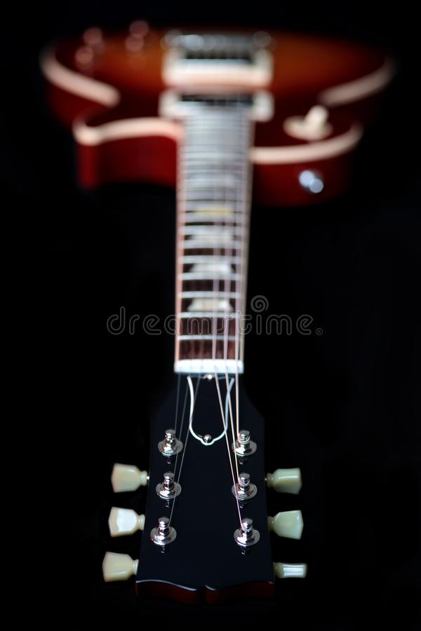 Headstock, Neck and Body of Electric Guitar royalty free stock photography