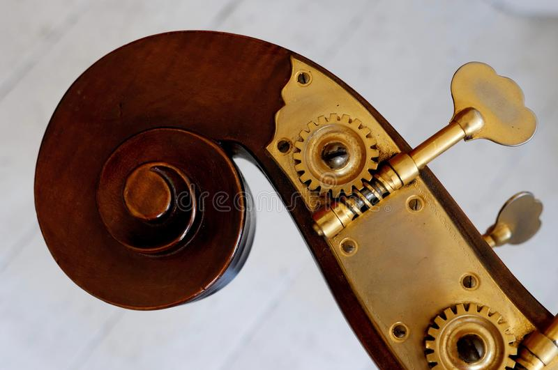 Double bass headstock. Headstock, scroll and tuners from a double bass royalty free stock image