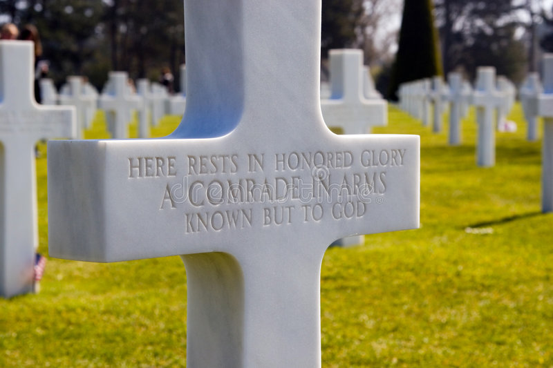 Headstone. Grave of an unknown soldier at the Normandy American Cemetery, France royalty free stock photos