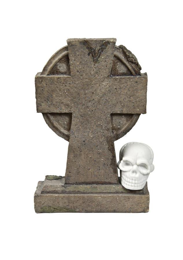 Headstone e crânio imagem de stock
