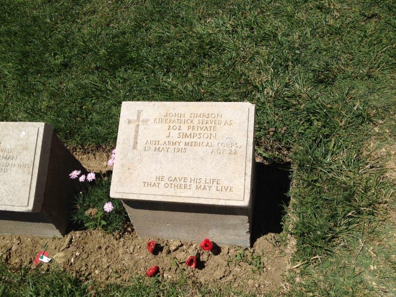 Headstone in Gallipoli, Turkije royalty-vrije stock foto