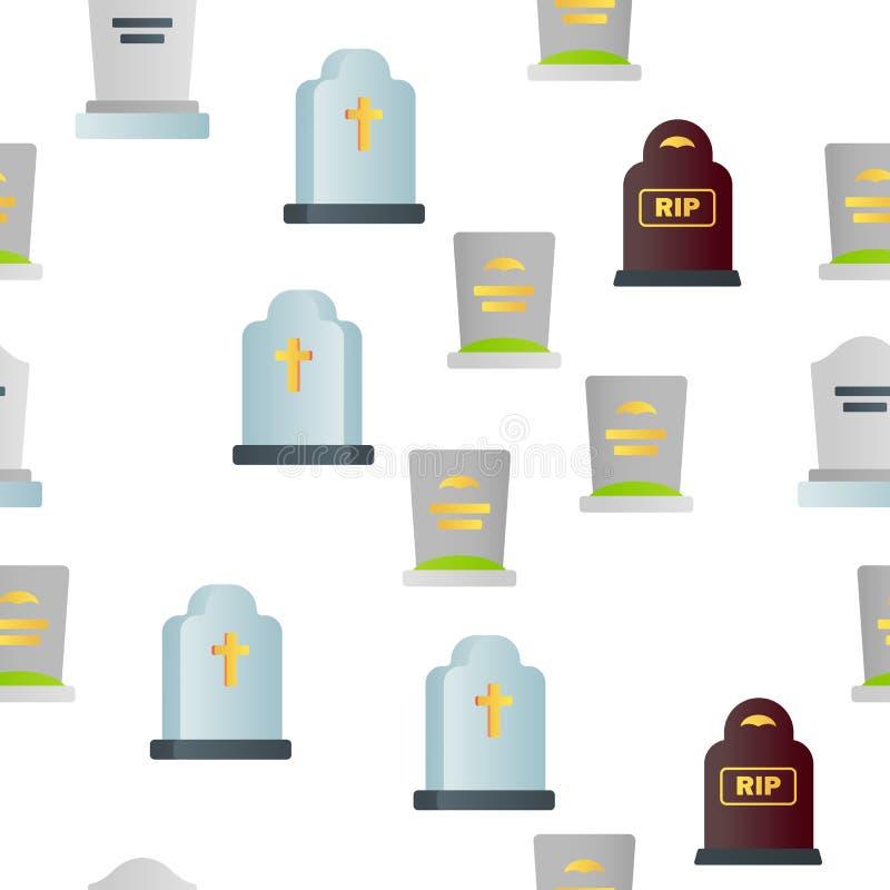 Headstone, Gravestone, Tombstone Vector Seamless Pattern vector illustration