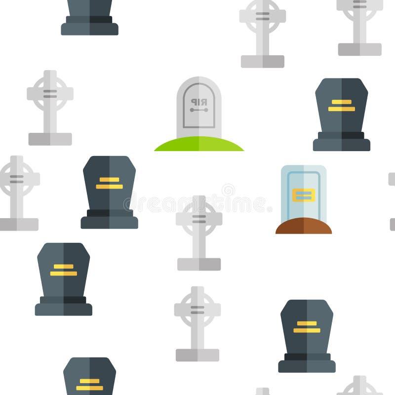 Headstone, Gravestone, Tombstone Vector Seamless Pattern royalty free illustration