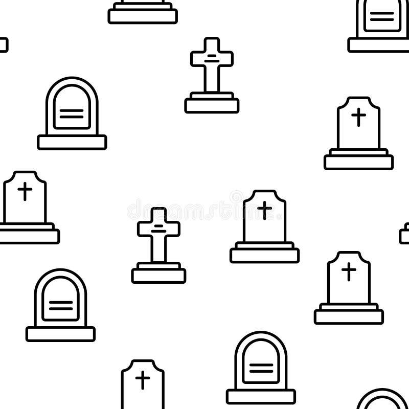 Headstone, Gravestone, Tombstone Vector Seamless Pattern stock illustration