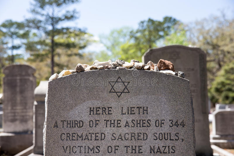 Headstone with Holocaust Reference in Bonaventure Cemetery stock photos