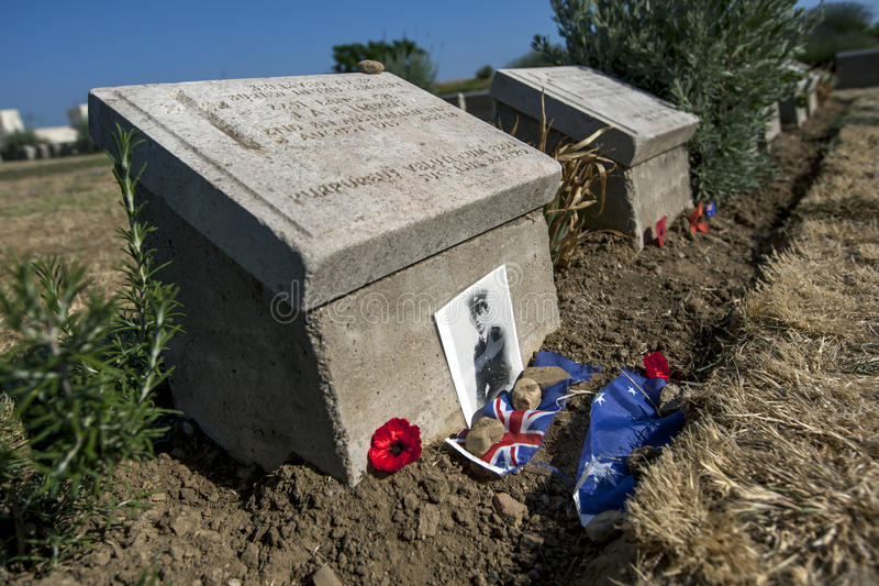 The headstone of 2251 Lance Cpl J.A.E. Harris, 2nd BN Australian Inf at Lone Pine Cemetery, Gallipoli, Turkey. He is believed to be the youngest Australian stock photography