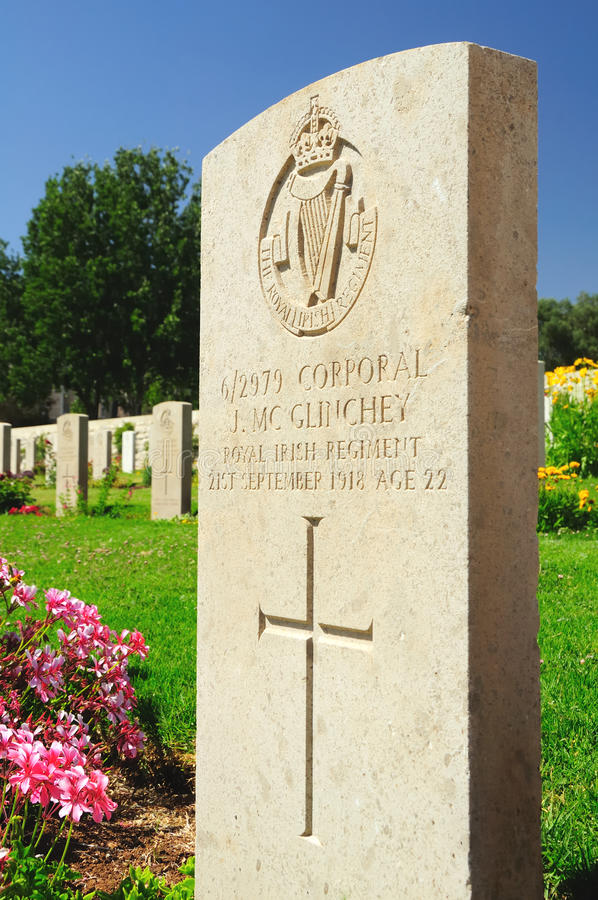 Headstone. Military British cemetery for the soldiers killed in Palestine. Jerusalem. Israel stock image