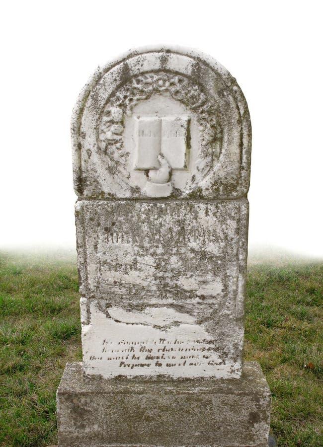 Headstone velho isolado foto de stock