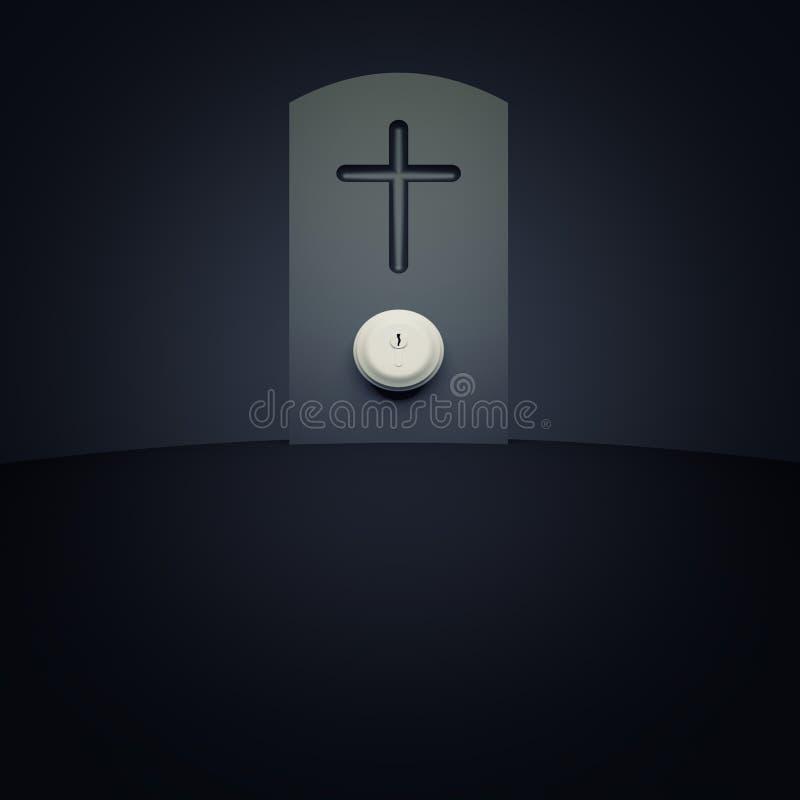 Headstone z doorknob ilustracja wektor