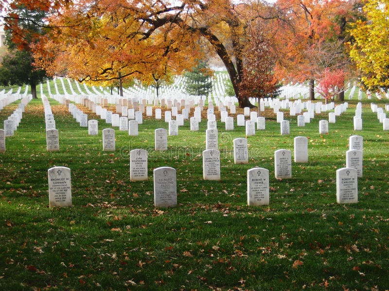 Headstones at Arlington National Cemetery stock images