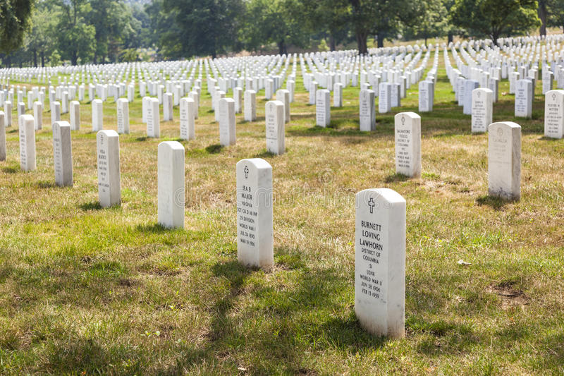 Headstones at the Arlington stock images