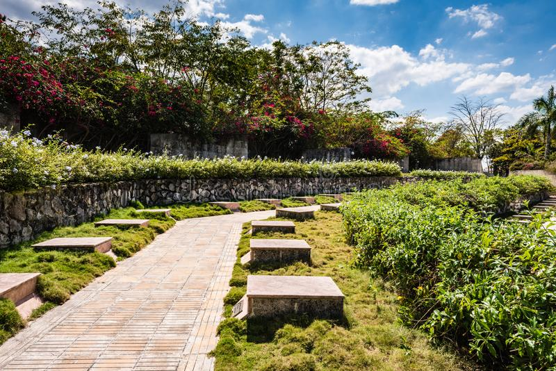 Headstones at Che Guevara Mausoleum. The Che Guevara Mausoleum is a memorial in Santa Clara, Cuba, located in `Plaza Che Guevara`. It houses the remains of the royalty free stock photography