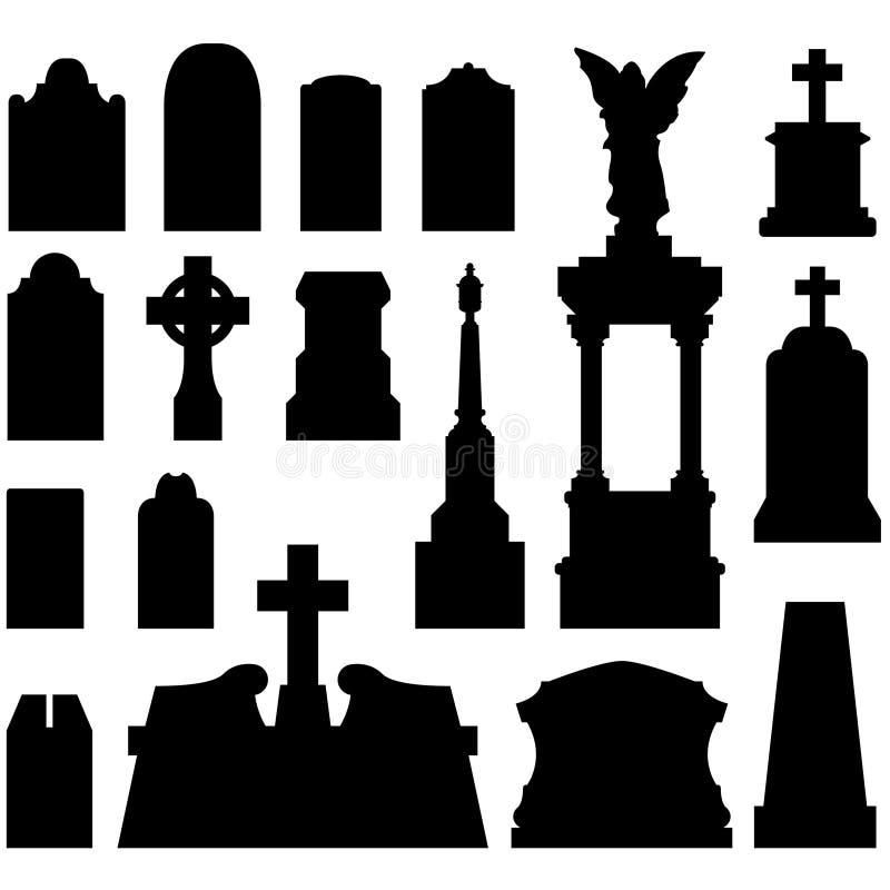 Headstones e lápides no vetor ilustração stock