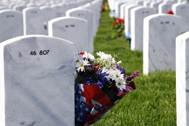 Headstones And Flowers In National Cemetery Stock Image