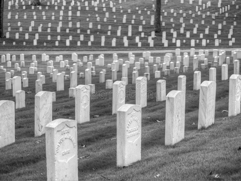 Headstones at Marietta National Cemetery, Marietta, GA. Black and white photo of headstones at the Marietta National Cemetery. Marietta, GA royalty free stock photography