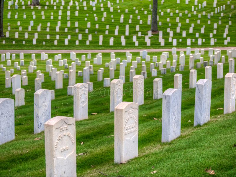 Headstones at Marietta National Cemetery, Marietta, GA. Photo of headstones at the Marietta National Cemetery, and the pattern they make when seen from a royalty free stock photography