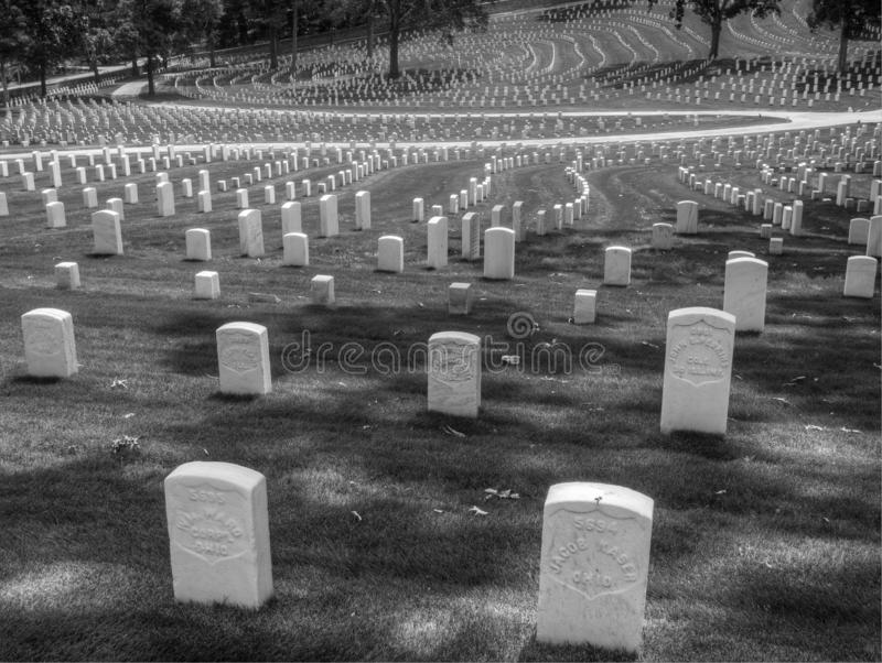 Headstones at Marietta National Cemetery, Marietta, GA. Photo of headstones at the Marietta National Cemetery, and the pattern they make when seen from a stock photos