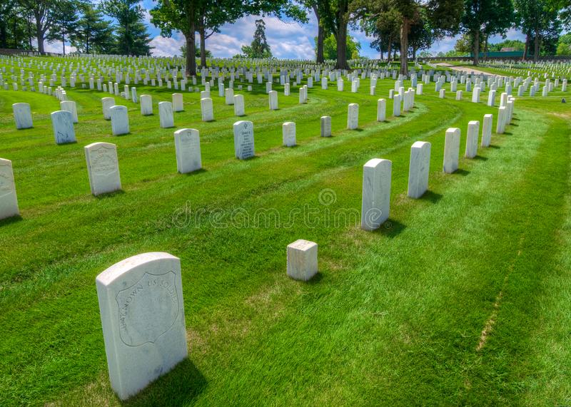 Headstones at Marietta National Cemetery, Marietta, GA. Photo of headstones at the Marietta National Cemetery, and the pattern they make when seen from a stock image