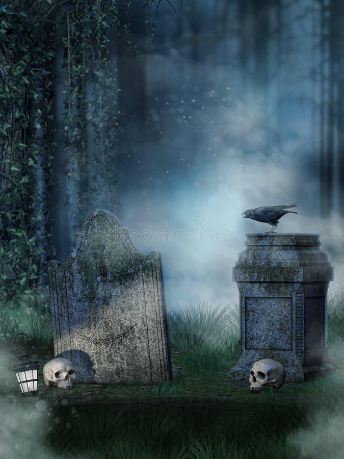 Headstones with skulls stock illustration