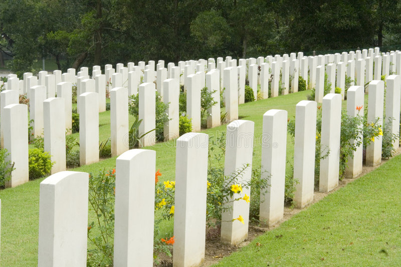 Headstones in a war cemetery royalty free stock photos
