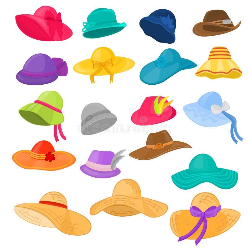 Headwear de couvre-chef ou d'été de vêtements de mode de vecteur de chapeau de femme et casque accessoire élégant femelle d'illus illustration libre de droits