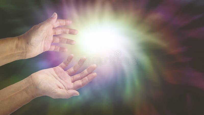 Healer with Intense Energy Field. Healer's hands reaching into intense energy vortex vector illustration