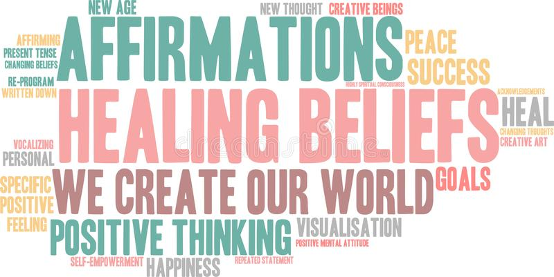 Healing Beliefs Word Cloud. On a white background stock illustration