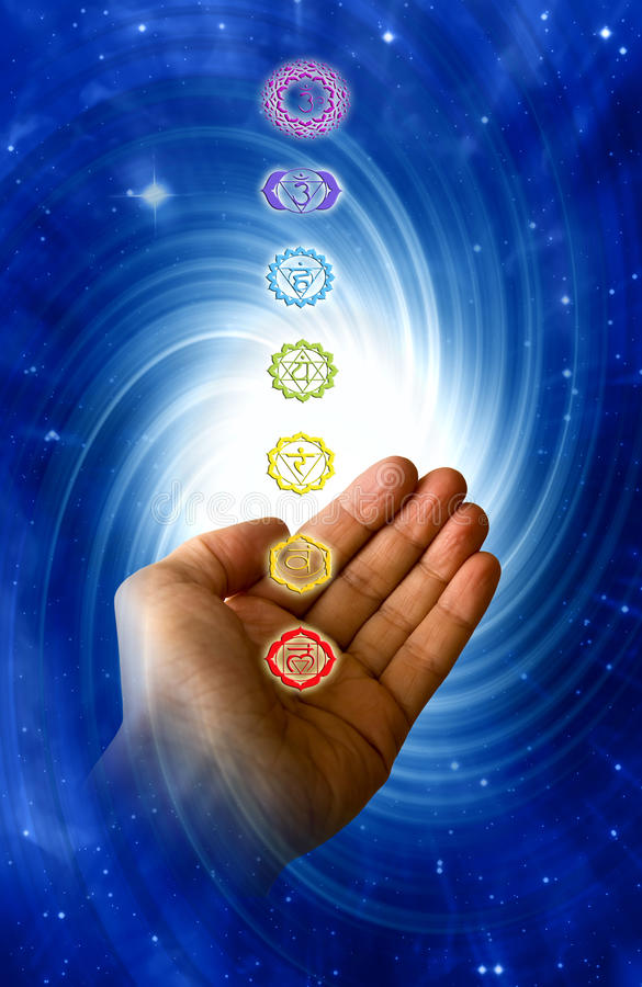Healing chakra. Healing energy of chakra with male hand and mystical whirl
