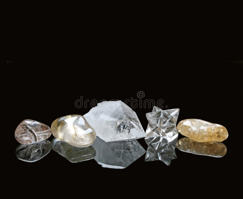 Healing Crystals on Black Background royalty free stock image