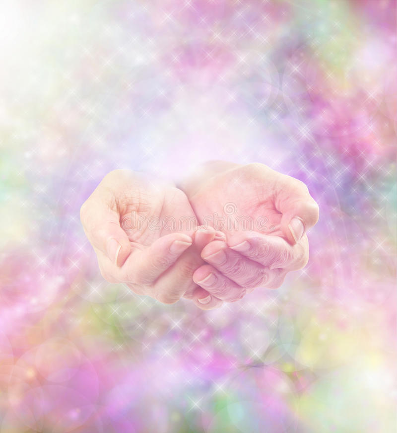 Healing energy and sparkles. Misty colorful sparkling soft energy and cupped healing hands vector illustration