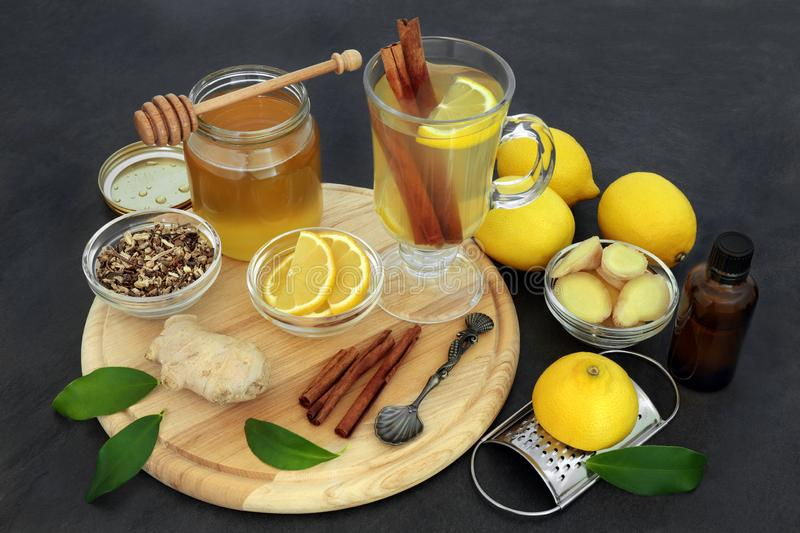 Healing Flu and Cold Remedy Ingredients royalty free stock photography