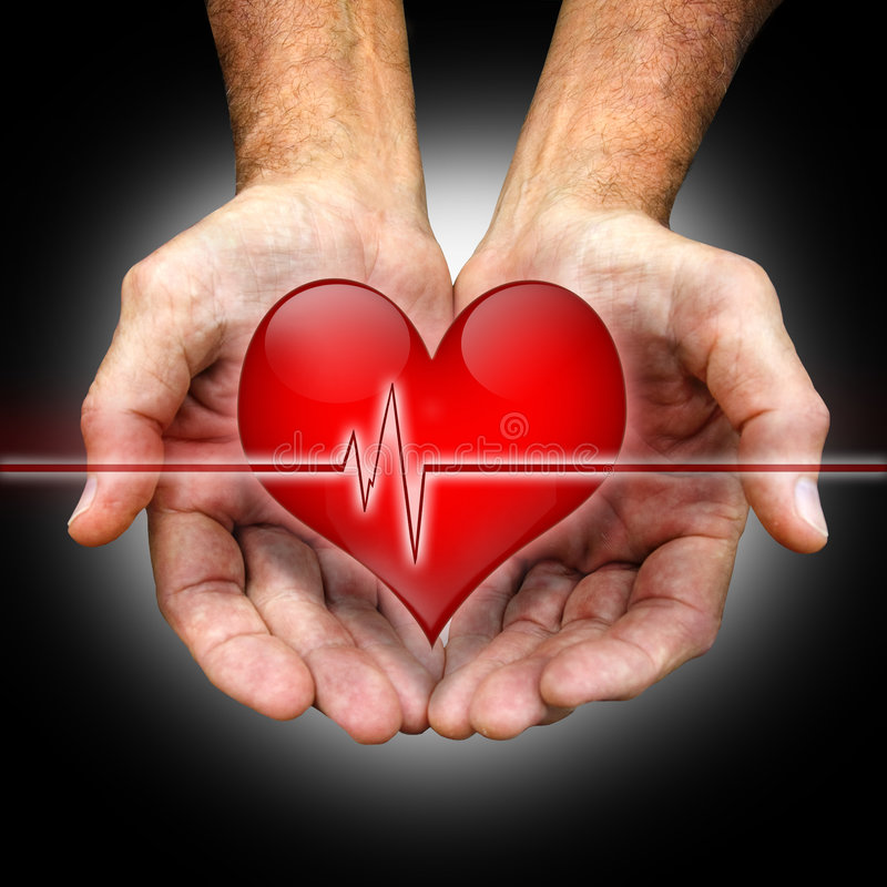 Healing hands. Cupped man's hands hold a heart with an ekg line royalty free stock photo