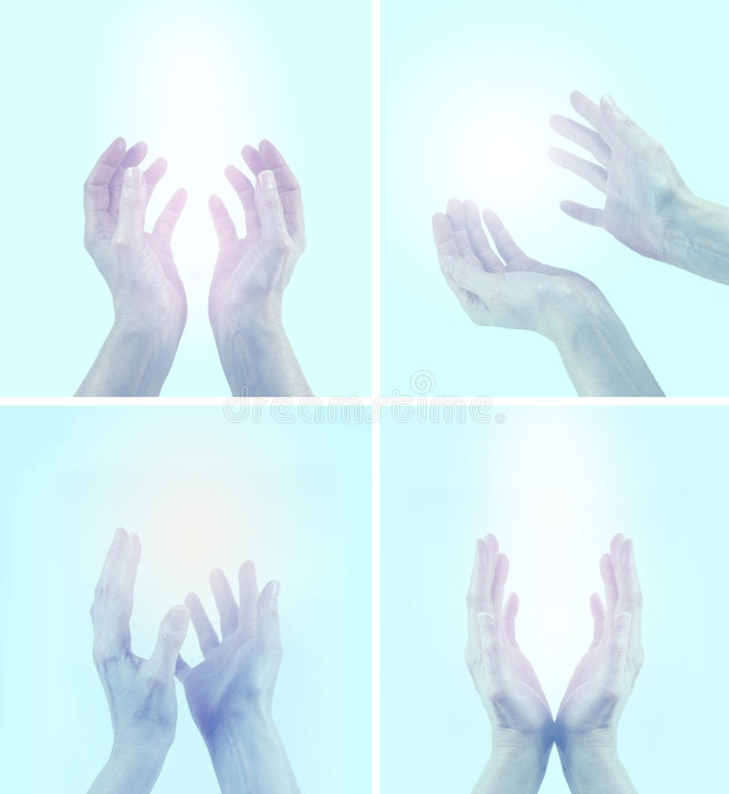 Healing hands in four different positions. Four different positions of female healing hands reaching into the light on a pale blue background stock photos
