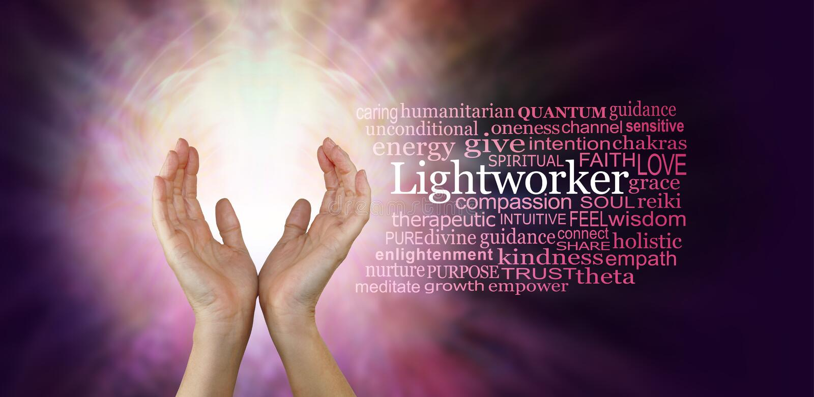 The healing hands of a Light Worker. Female hands in an upwards open gesture beside the word LIGHTWORKER and a relevant word cloud on a radiating pink coloured stock photo